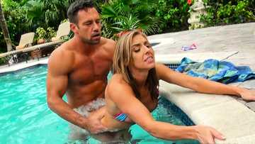 Pussy fucking a cheating wife Kate Linn in her outdoor pool in backyard