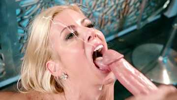 Super busty MILF Alexis Fawx is happy to take bartender's cum in mouth