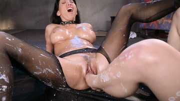 Katrina Jade and Lezley Zen having feet fetish fun, while being covered with wax