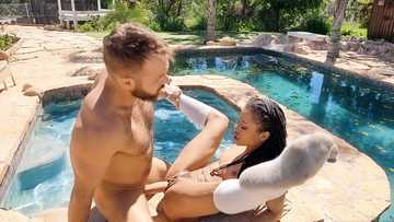 Black lassie Kira Noir gets fucked by the poolside of her neighbor after classes