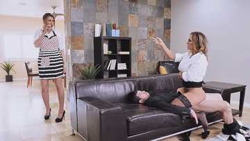 Sexy secretary Aubrey Black seduces coworker for sex while GF is in next room