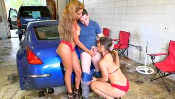 Bella Danger and Sarai puts on a show washing the car and sucks dick