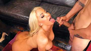 Tanned MILF Nicolette Shea with big tits takes young dick and cum in mouth
