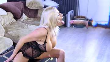 Cheating wife Michelle Thorn gives a blowjob to invisible man with a moster cock