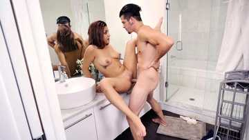 Young Latina Mia Martinez wants her boyfriend fuck her in the bathroom